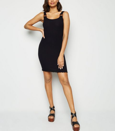 46bf2f34074 Black Buckle Ribbed Bodycon Dress · Black Buckle Ribbed Bodycon Dress ...