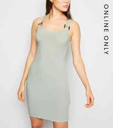 Light Green Buckle Ribbed Bodycon Dress