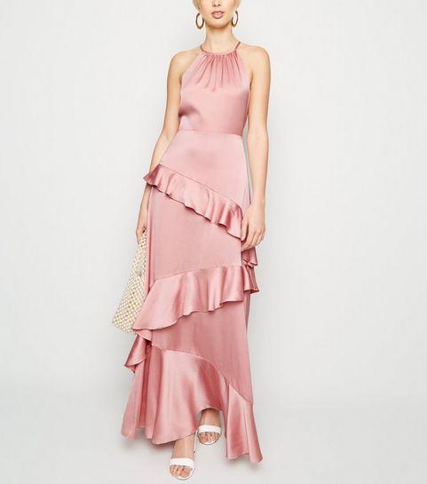 e13d7cef024e ... Mid Pink Satin Ruffle Trim Maxi Dress ...