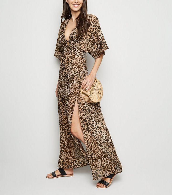eb637b31906e Brown Leopard Print Maxi Beach Dress | New Look