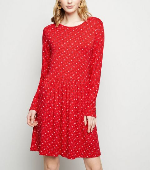 c26c184e91e5df ... Red Floral Long Sleeve Jersey Smock Dress ...