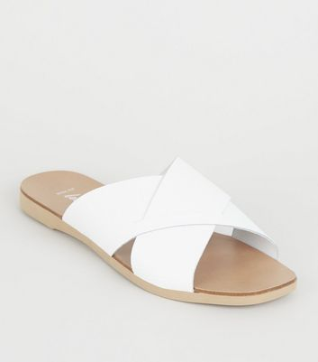Wide Fit White Leather Cross Strap