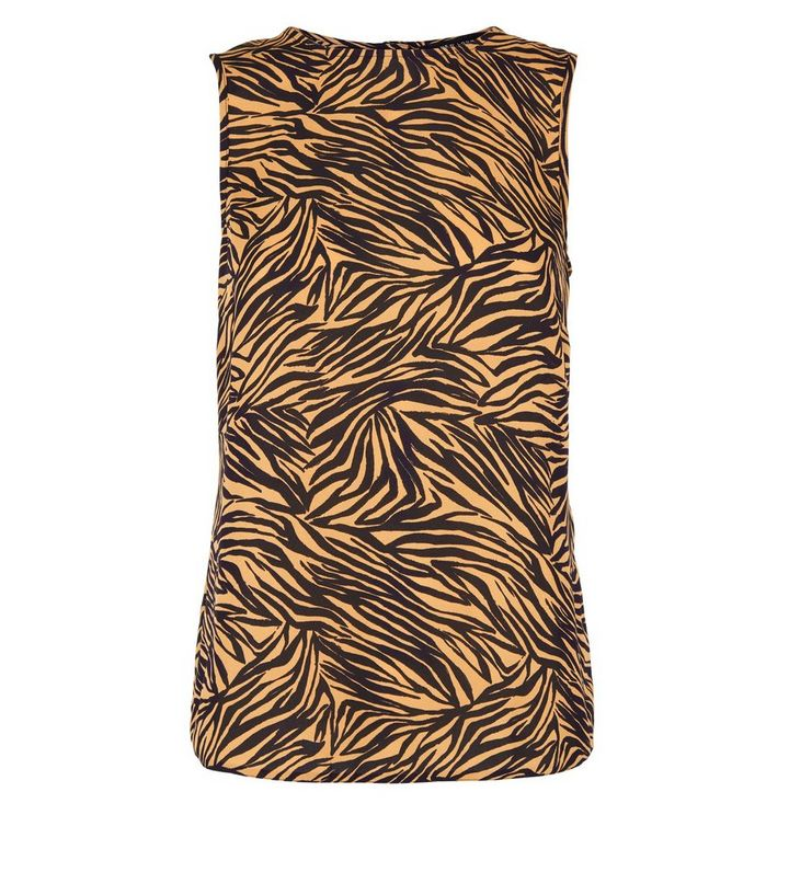 443e1f08bac99e ... Brown Tiger Print Sleeveless Top. ×. ×. ×. Shop the look