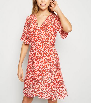 Red Heart Print Mini Wrap Dress