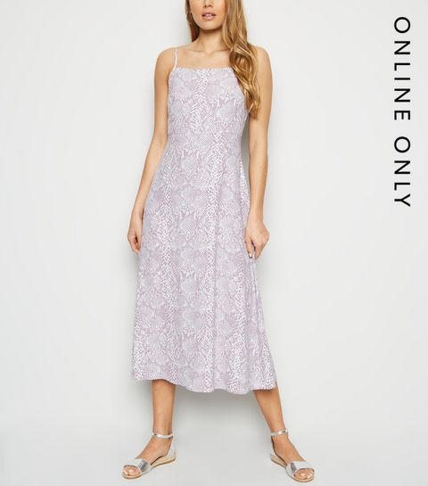 5ff3b2a1751f ... Lilac Snake Print Square Neck Midi Slip Dress ...