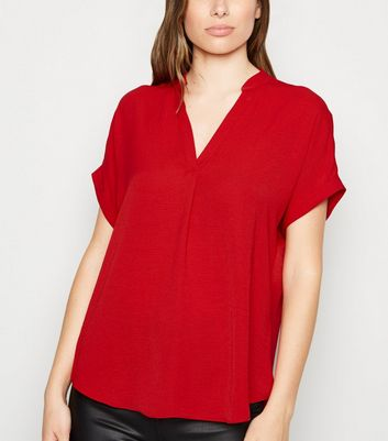 Red Short Sleeve Overhead Shirt