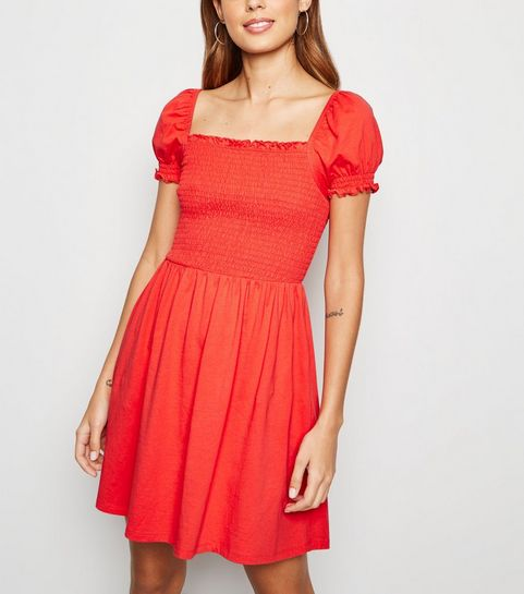 17207f8e62 Red Shirred Jersey Milkmaid Dress · Red Shirred Jersey Milkmaid Dress ...