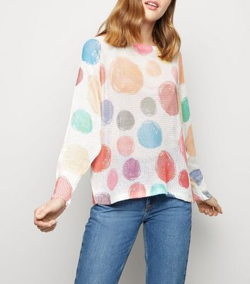 Cameo Rose Off White Spot Fine Knit Jumper