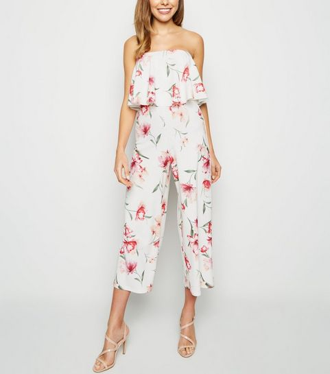 39f645523be ... White Floral Frill Bandeau Jumpsuit ...