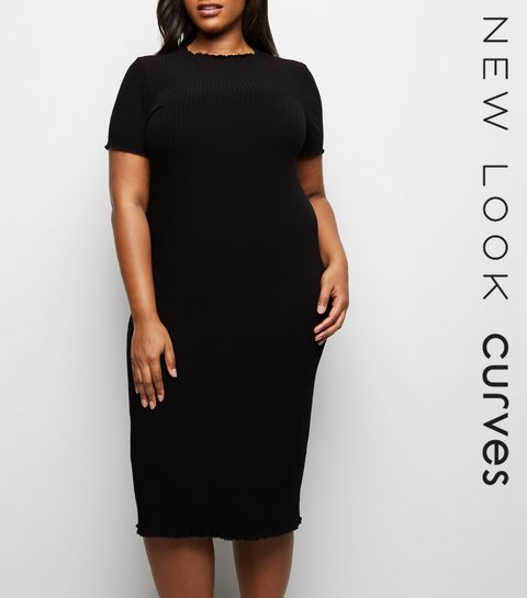 fa6c6b675f ... Curves Black Frill Short Sleeve Midi Dress ...