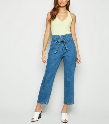 Cameo Rose Blue Paperbag Jeans
