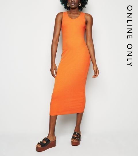 0e37c5b49 ... Orange Ribbed Bodycon Midi Dress ...