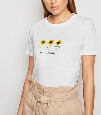 White My Sunshine Sunflower Slogan T-Shirt