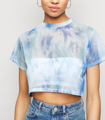 Blue Tie Dye Mesh Crop Top