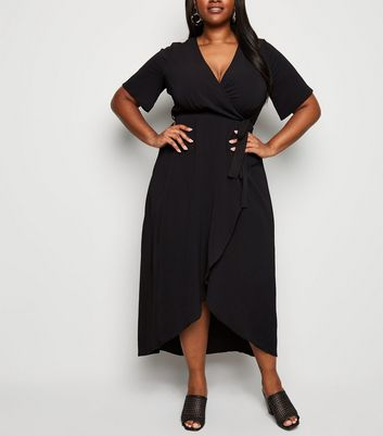 Curves Black Dip Hem Midi Wrap Dress