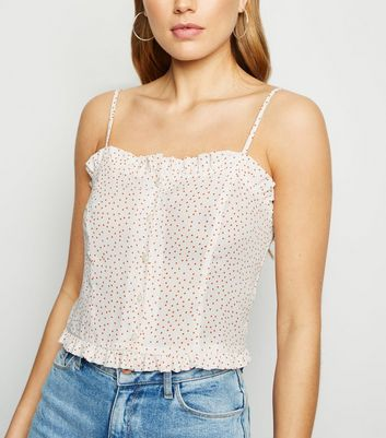 White Spot Frill Trim Button Up Cami