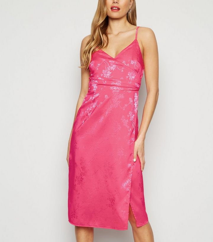 8df28c684ce1 Bright Pink Floral Satin Jacquard Midi Dress