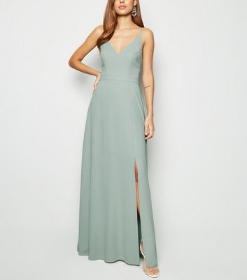 Light Green Crochet Back Side Split Maxi Dress