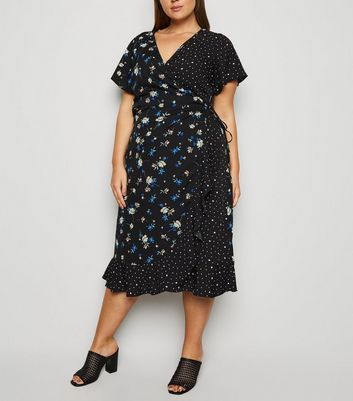 Curves Black Floral Spot Midi Wrap Dress