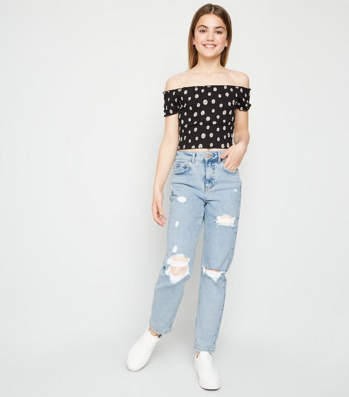 11c89e57ac Girls Pale Blue Ripped Stretch Mom Jeans Add to Saved Items Remove from  Saved Items