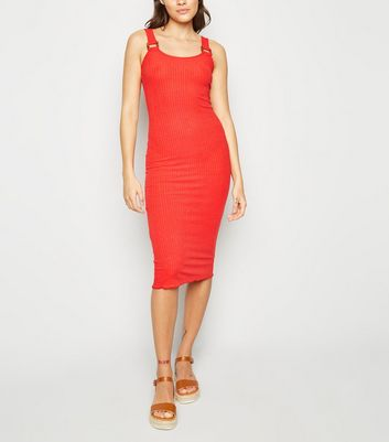 Rust Ribbed Buckle Jersey Midi Dress