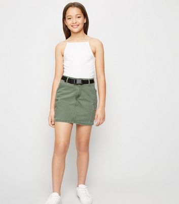 Girls Khaki Belted Utility Denim Skirt