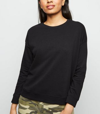 Petite Black Long Sleeve Sweatshirt