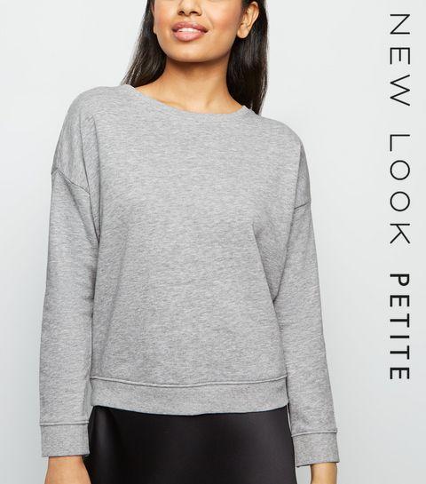 bae8cf969c56 ... Petite Grey Marl Long Sleeve Sweatshirt ...