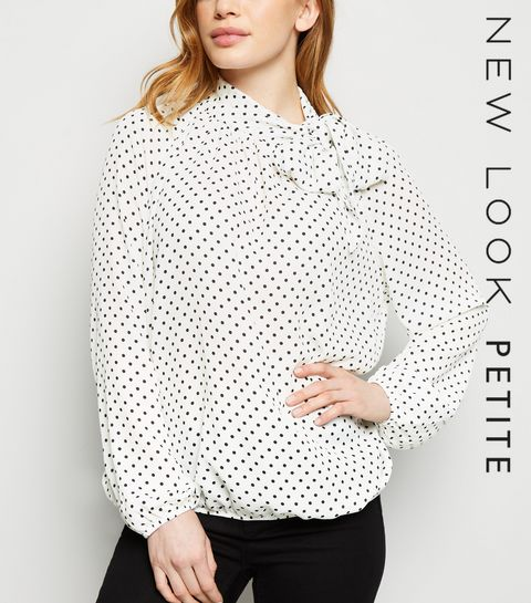 009f689eeff ... Petite White Spot Tie Neck Shirt ...