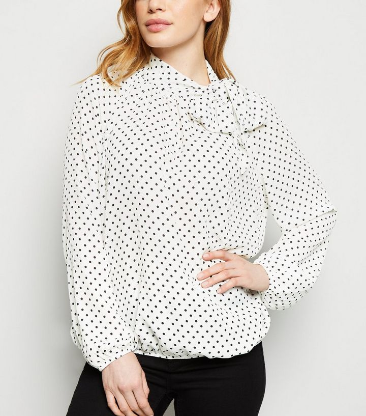 35f183e796 Petite White Spot Tie Neck Shirt