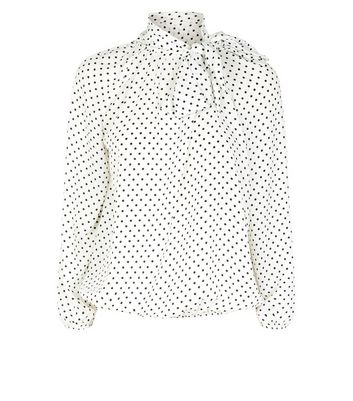 petite white spot tie neck shirt new look