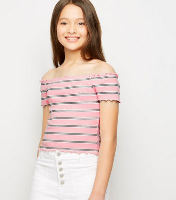 Girls Pink Stripe Ribbed Bardot Top