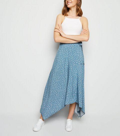 c8a1ec45714a ... Blue Ditsy Floral Hanky Hem Wrap Skirt ...