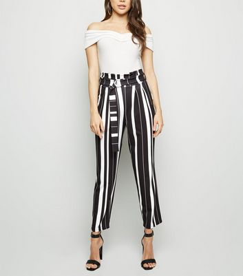 Cameo Rose Black Stripe Paperbag Trousers