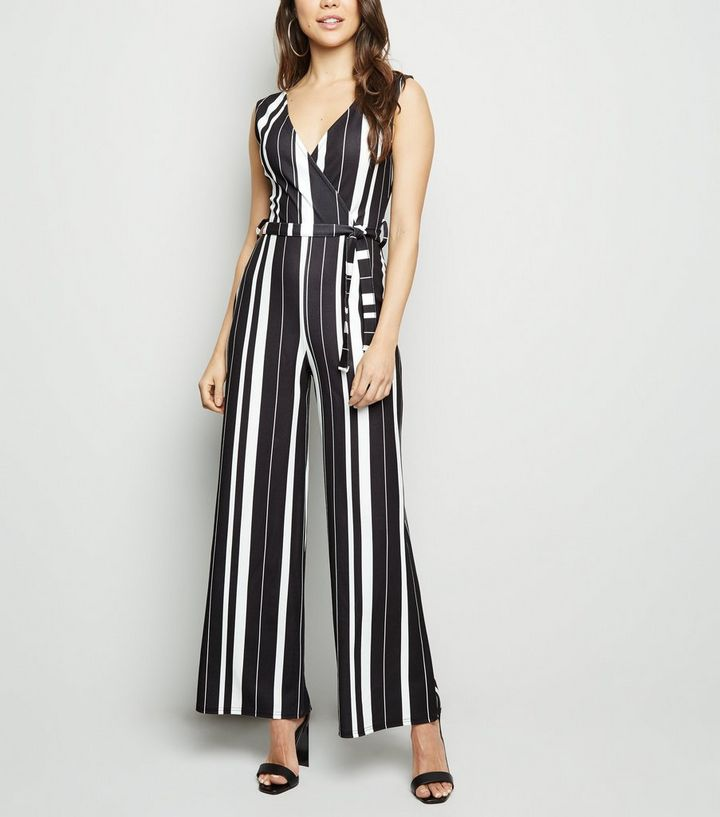 53aed5d45d44 Cameo Rose Black Stripe Wrap Front Jumpsuit