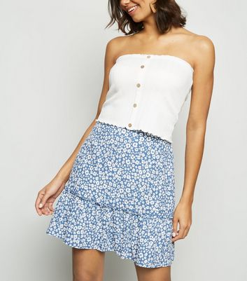 Blue Leopard Print Tiered Mini Skirt