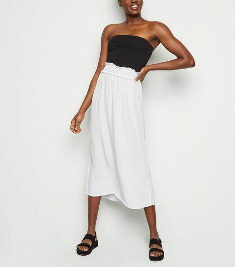 1c46b89cfbe ... Cream Shirred Waist Midi Skirt ...