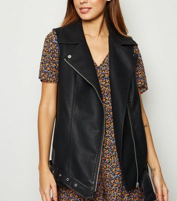 Black Leather-Look Oversized Gilet