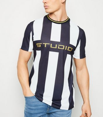 White Stripe Studio Slogan T-Shirt