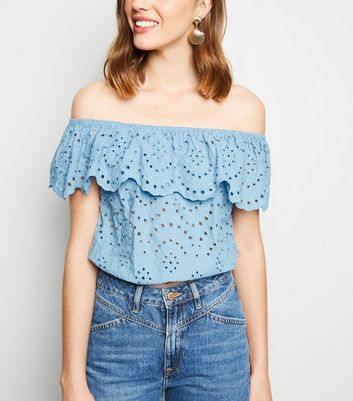 Pale Blue Broderie Bardot Crop Top