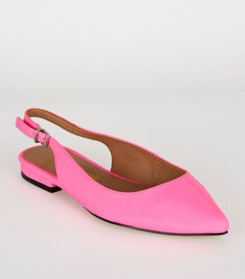 Bright Pink Neon Patent Slingback Pumps
