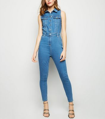 Parisian Blue Denim Button Up Jumpsuit
