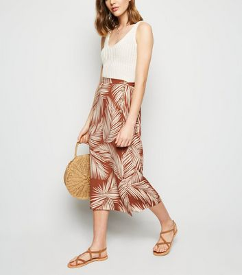 Rust Palm Print Button Side Midi Skirt