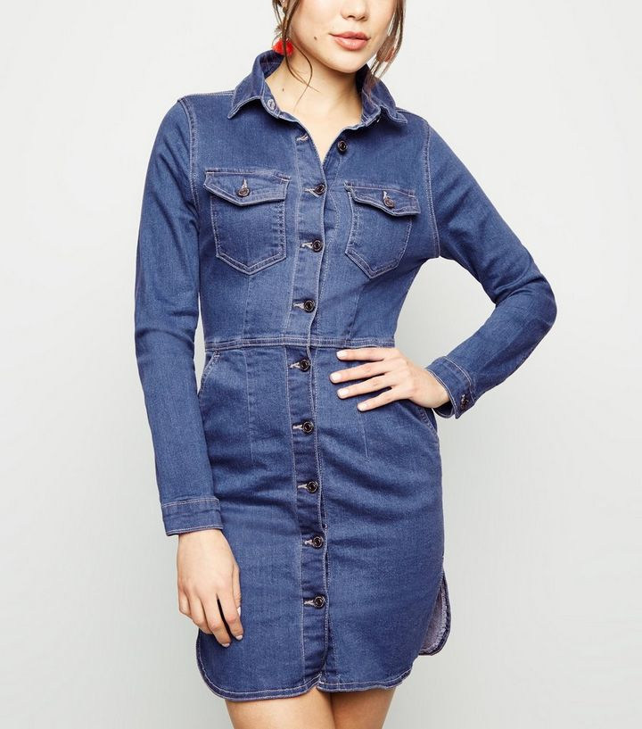788618803a8 Parisian Blue Long Sleeve Stretch Denim Dress