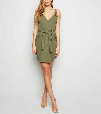 Parisian Khaki Wrap Mini Dress