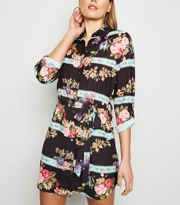 Parisian Black Mixed Floral Shirt Dress