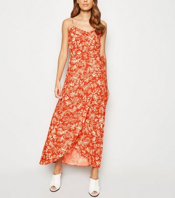 Red Leaf Print Maxi Wrap Skirt