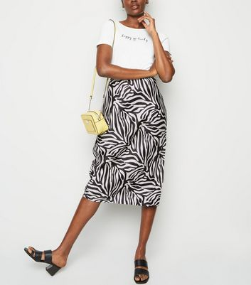 Pink Vanilla Black Zebra Print Side Split Midi Skirt