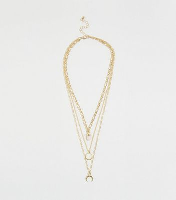 Gold Layered Chain Stone Pendant Necklace