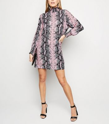 Cameo Rose Pink Snake Print Turtleneck Dress